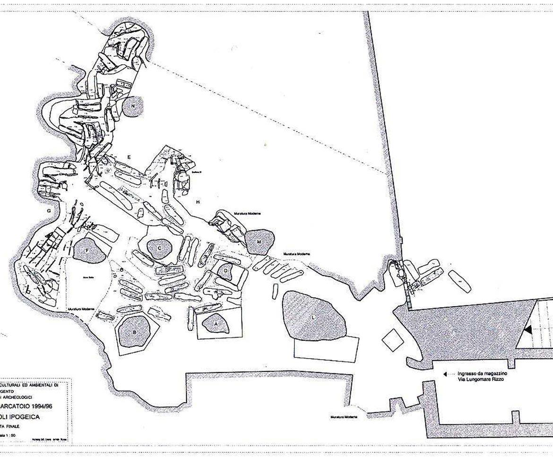 La cartina della necropoli paleocristiana di Porto Vecchio a Lampedusa